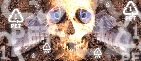Human skull with plastic PET 5 eyes and recycle symbols floating above a polluted earth
