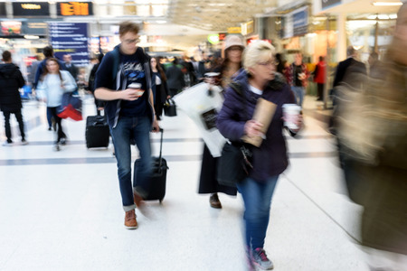 Intentional Motion blur of people at London Liverpool Street Station in Daylight
