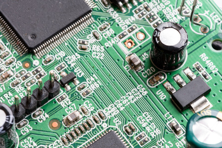 Electronic PCB Printed Circuit Board In Macro Close-up With ...