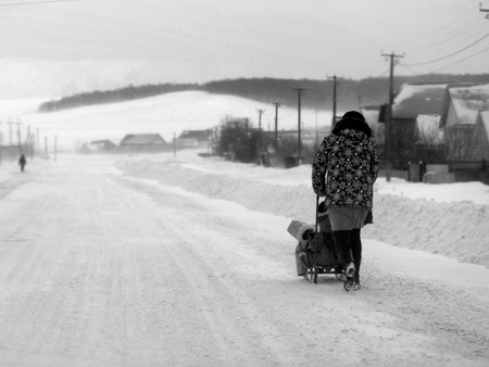 Woman pushing a child in a sled during a winter snow storm and blizzard on a rural village street with houses and natural sunlight