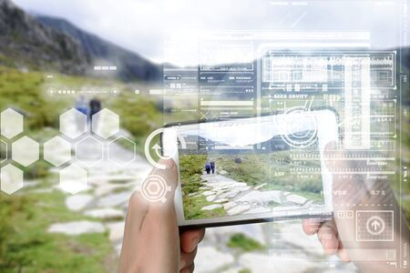 Augmented Reality device using smart technology, mixing virtual and augmentation reality through the application of artificial intelligence and computer AI tech assistance for tourist adventure holidays