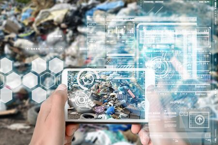 Augmented Reality device using smart technology, mixing virtual and augmentation reality through the application of artificial intelligence and computer AI tech assistance for recycling chemical component reporting