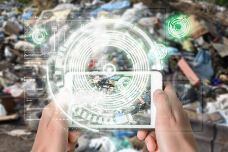 Augmented Reality device using smart technology, mixing virtual and augmentation reality through the application of artificial intelligence and computer AI tech assistance for recycling chemical components