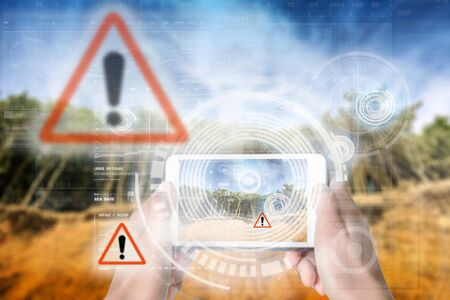 Augmented Reality device using smart technology, mixing virtual and augmentation reality through the application of artificial intelligence and computer AI tech assistance for avoiding harmful hazards Zdjęcie Seryjne