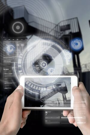 Augmented Reality device using smart technology, mixing virtual and augmentation reality through the application of artificial intelligence and computer AI tech assistance for avoiding crime spots and areas