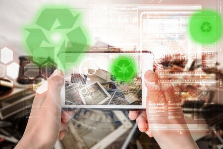 Augmented Reality device using smart technology, mixing virtual and augmentation reality through the application of artificial intelligence and computer AI tech assistance for recycling information Zdjęcie Seryjne
