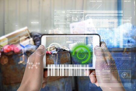 Augmented Reality device using smart technology, mixing virtual and augmentation reality through the application of artificial intelligence and computer AI tech assistance for recycling inventory and identity