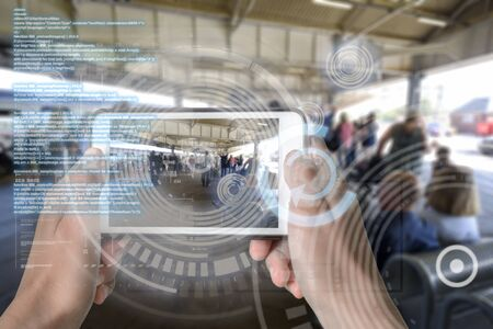 Augmented Reality device using smart technology, mixing virtual and augmentation reality through the application of artificial intelligence and computer AI tech assistance for avoiding urban queues and congestion problems