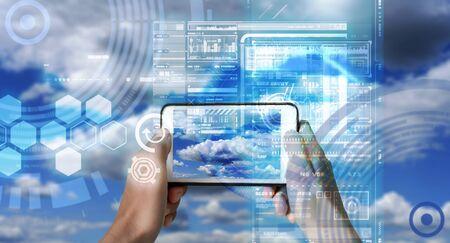 Dispositivo de realidad aumentada que utiliza tecnología inteligente, mezcla de realidad virtual y de aumento a través de la aplicación de inteligencia artificial y asistencia técnica de IA por computadora para verificar el clima.