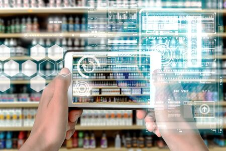 Augmented Reality device using smart technology, mixing virtual and augmentation reality through the application of artificial intelligence and computer AI tech assistance for shopping guides and product information
