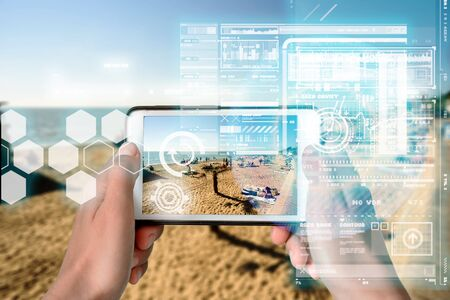 Augmented Reality device using smart technology, mixing virtual and augmentation reality through the application of artificial intelligence and computer AI tech assistance for holidays and exploring beaches
