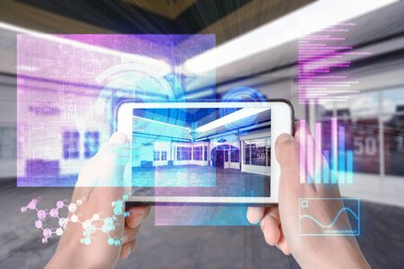 Augmented Reality device using smart technology, mixing virtual and augmentation reality through the application of artificial intelligence and computer AI tech assistance for highstreet shopping and discounts