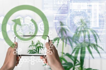 Augmented Reality device using smart technology, mixing virtual and augmentation reality through the application of artificial intelligence and computer AI tech assistance for cannabis THC properties and DNA