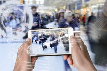 Augmented Reality device using smart technology, mixing virtual and augmentation reality through the application of artificial intelligence and computer AI tech assistance for city exploring and help
