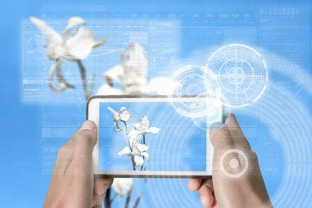 Augmented Reality device using smart technology, mixing virtual and augmentation reality through the application of artificial intelligence and computer AI tech assistance for flower and botany identification