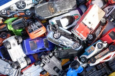 CHELMSFORD, ESSEX/ENGLAND - 1ST JUNE 2019 - Assorted toy vehicles in a pile these rare and collectible toys are for sale in the summer of 2019