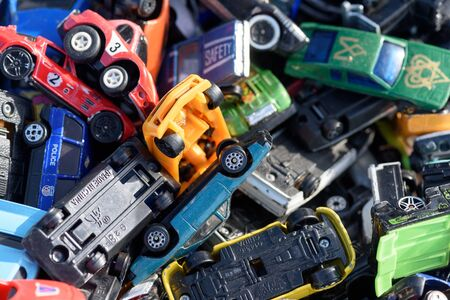 CHELMSFORD, ESSEX/ENGLAND - 1ST JUNE 2019 - Assorted toy vehicles for sale at a car boot sale in Essex England so people can purchase rare and collectible toys in the summer of 2019