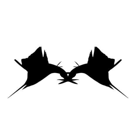 Double Jumping Sailfish Silhouette Illustration