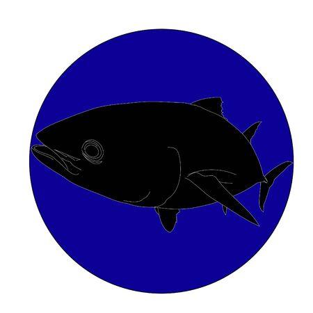 Bluefin tuna silhouette in blue circle