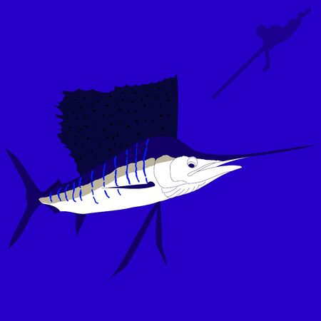 Spear fisherman going after a sailfish underwater