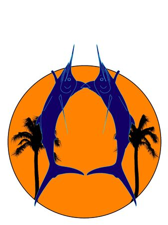 Double jumping navy blue marlin silhouette with palm trees and sun