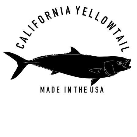 Yellowtail silhouette with made in the USA logo