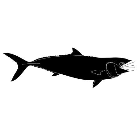 A silhouette of a California yellowtail wearing a mask