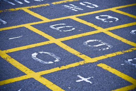 Yellow Hopscotch Pattern On School Playground photo
