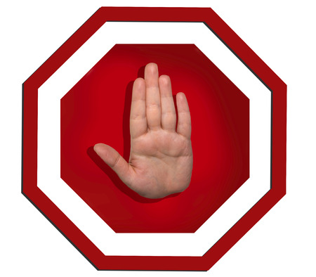 stay alert: Vector warning sign with hand gesture