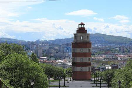 beacon: Murmansk memorial beacon Stock Photo