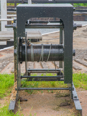 hand crank: A hand crank winch for a canal lock gate