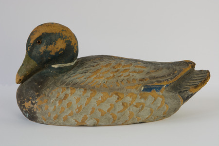 decoy: An old duck hunting decoy showing it has been well used  Stock Photo