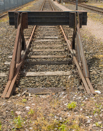 buffers: Buffers set at the end of a railroad spur line  Stock Photo