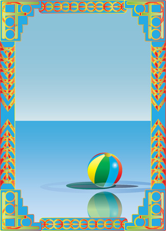 beachball: Art Deco style seaside lido text frame with beach ball and ocean horizon.