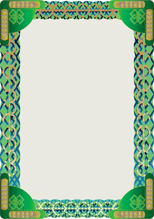 text frame: Colourful and vivid geometric pattern green decorative text frame with curved elements.