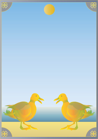 shoreline: Two ducks standing on a sunny shoreline with a frame around the image.