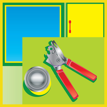 Can opener and can on table in brightly colored kitchen. Illustration