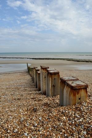 groyne: Seascape with groyne posts