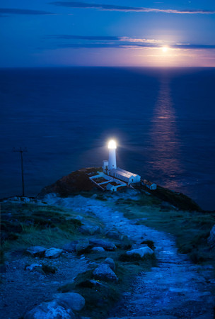 The Moon Rises Over South Stack Light House, Holy Island, Anglsey, Wales