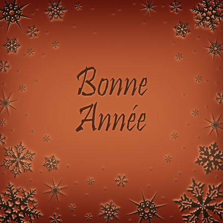 Christmas card with new year greetings in French, decorated with snowflakes. Bonne anne