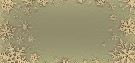 Christmas card decorated with white snowflakes. Pattern for Christmas greetings