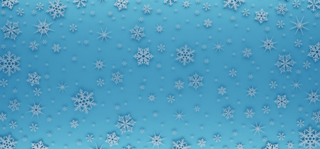 Christmas card decorated with white snowflakes. Pattern for Christmas greetings. Stockfoto