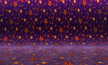 Purple background with red stars. Colorful texture