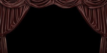 Chocolate curtain on black background. 3D illustration
