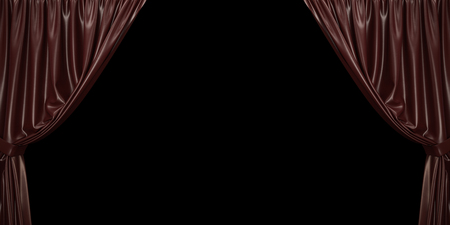 Chocolate curtain open to the sides, on a black background. 3D illustration Stockfoto