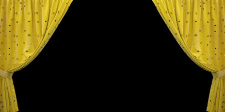 Yellow velvet curtain open to the sides, on a black background. 3D illustration Stockfoto