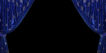 Blue velvet curtain open to the sides, on a black background. 3D illustration