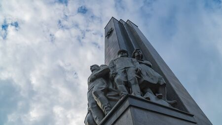 11 June 2018. Russia. The City Of Domodedovo. Day. Obelisk of Glory to soldiers-Domodedovo soldiers who died during the World War two. Against the sky.
