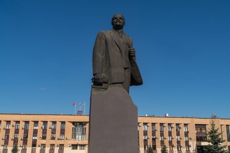 11 June 2018. Russia. The City Of Domodedovo. Day. Lenin monument in the Central city square.