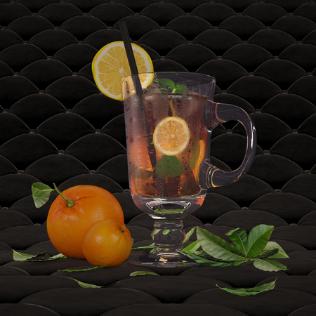 Iced tea with mint, lemon and ice. Stockfoto